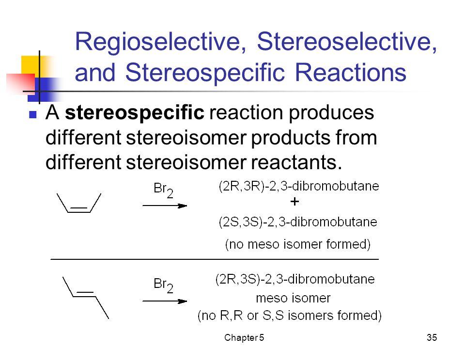Chapter 535 Regioselective, Stereoselective, and Stereospecific Reactions A stereospecific reaction produces different stereoisomer products from different stereoisomer reactants.