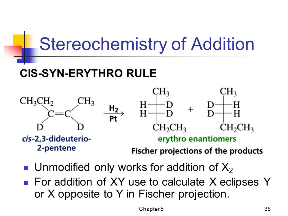 Chapter 538 Stereochemistry of Addition Unmodified only works for addition of X 2 For addition of XY use to calculate X eclipses Y or X opposite to Y in Fischer projection.
