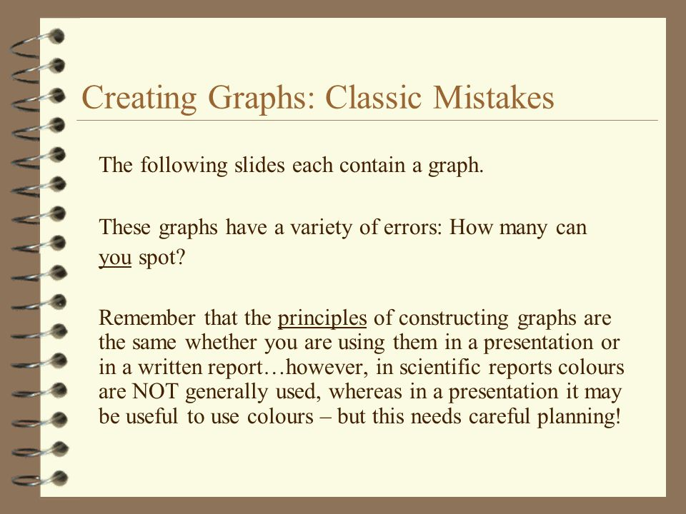 Creating Graphs: Classic Mistakes The following slides each contain a graph. These graphs have a variety of errors: How many can you spot? Remember th