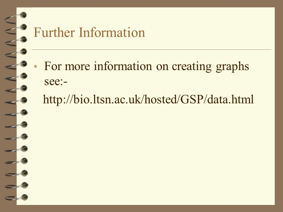 Further Information For more information on creating graphs see:- http://bio.ltsn.ac.uk/hosted/GSP/data.html