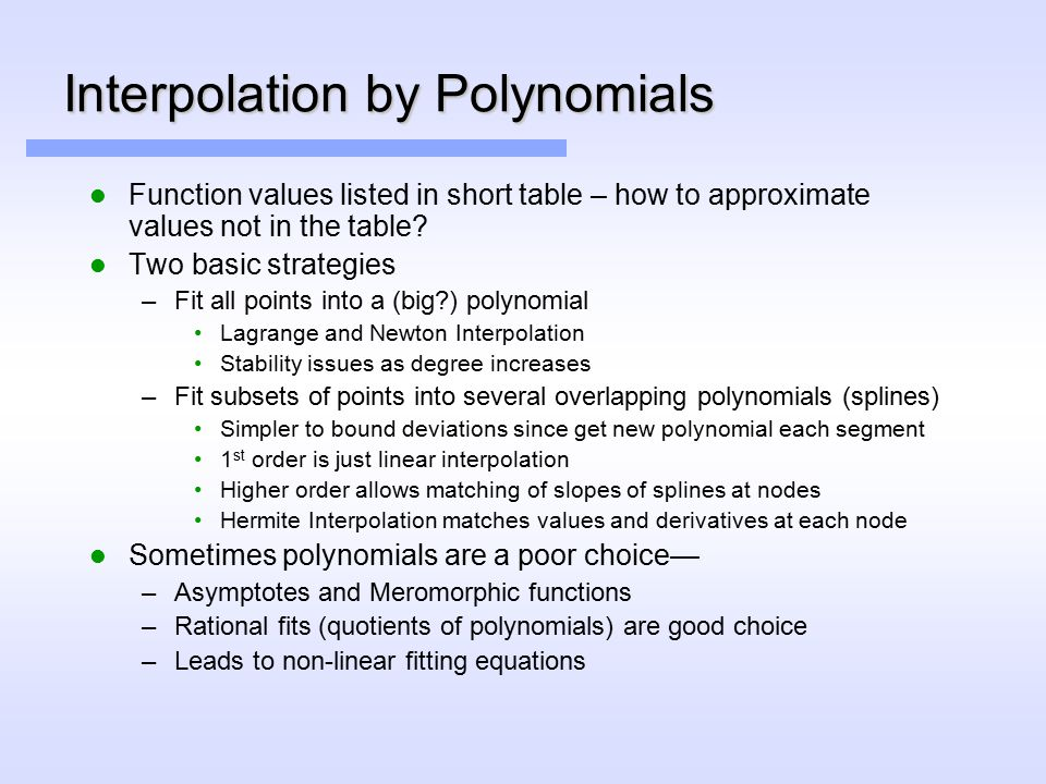 Interpolation by Polynomials Function values listed in short table – how to approximate values not in the table.