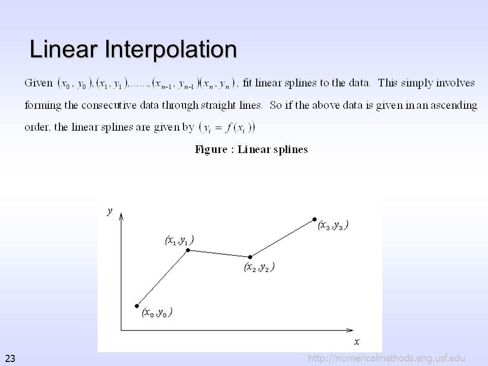 http://numericalmethods.eng.usf.edu23 Linear Interpolation