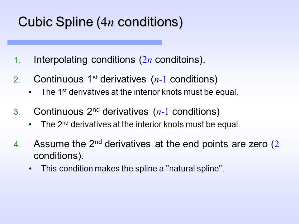 Cubic Spline ( 4n conditions) 1. Interpolating conditions ( 2n conditoins).