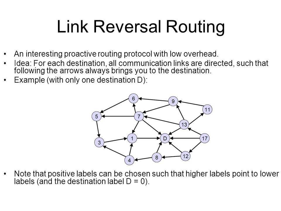 Link Reversal Routing An interesting proactive routing protocol with low overhead.