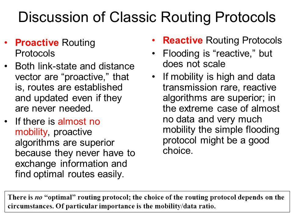 Discussion of Classic Routing Protocols Proactive Routing Protocols Both link-state and distance vector are proactive, that is, routes are established and updated even if they are never needed.