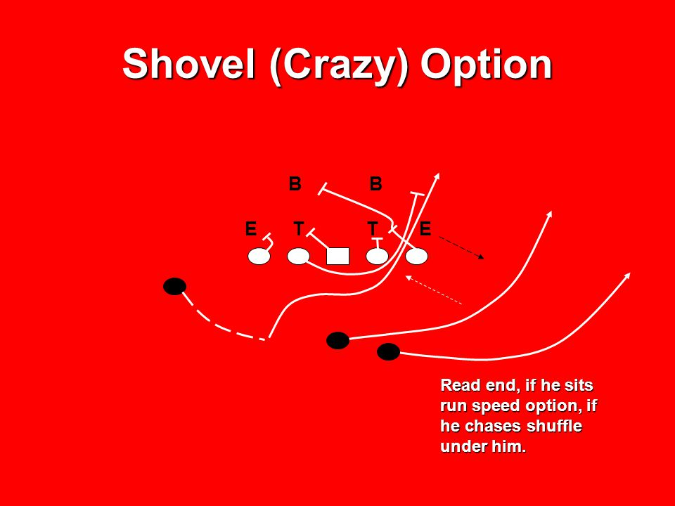 Shovel (Crazy) Option Read end, if he sits run speed option, if he chases shuffle under him. B E T T E