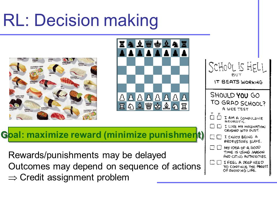 Rewards/punishments may be delayed Outcomes may depend on sequence of actions  Credit assignment problem RL: Decision making Goal: maximize reward (minimize punishment)