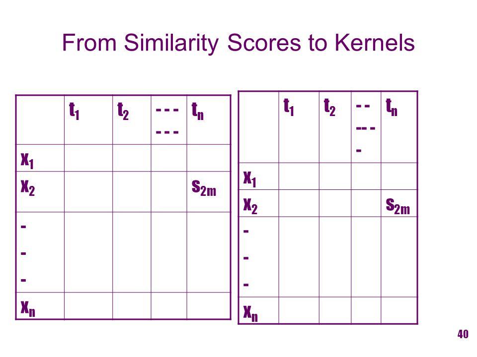 From Similarity Scores to Kernels t1t1 t2t2- - - tntn x1x1 x2x2 s 2m ------ xnxn t1t1 t2t2 - - -- - - tntn x1x1 x2x2 s 2m ------ xnxn 40