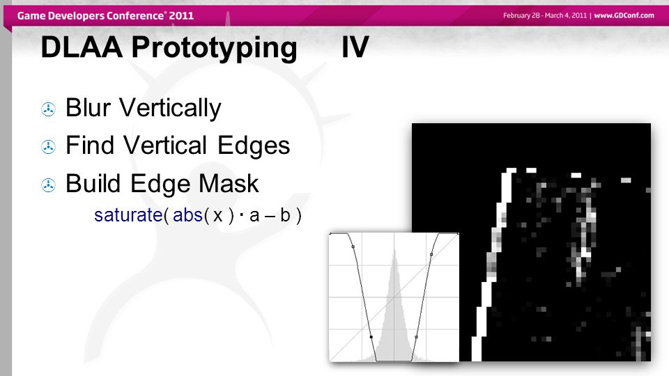 DLAA PrototypingIV  Blur Vertically  Find Vertical Edges  Build Edge Mask saturate( abs( x ) · a – b )