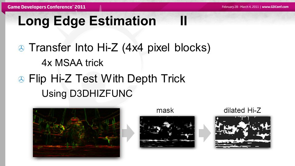 Long Edge EstimationII  Transfer Into Hi-Z (4x4 pixel blocks) 4x MSAA trick  Flip Hi-Z Test With Depth Trick Using D3DHIZFUNC maskdilated Hi-Z