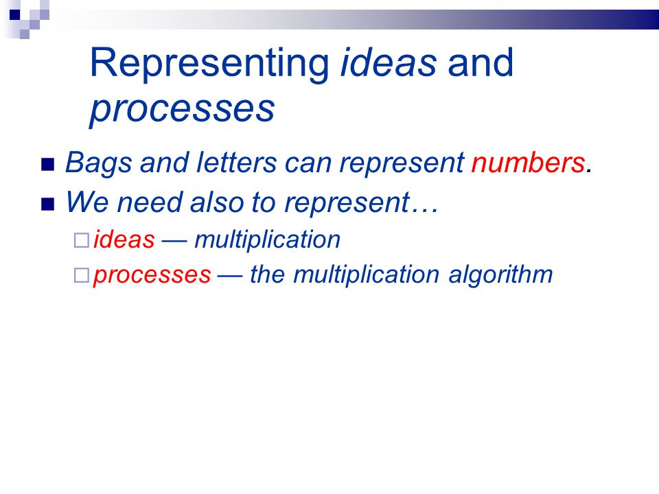 Representing ideas and processes Bags and letters can represent numbers. We need also to represent…  ideas — multiplication  processes — the multipl