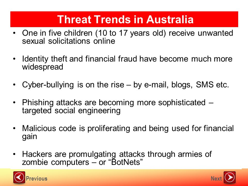 NextPrevious Threat Trends in Australia One in five children (10 to 17 years old) receive unwanted sexual solicitations online Identity theft and financial fraud have become much more widespread Cyber-bullying is on the rise – by e-mail, blogs, SMS etc.