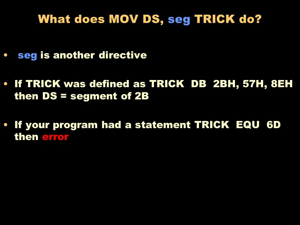 What does MOV DX, offset TRICK do.