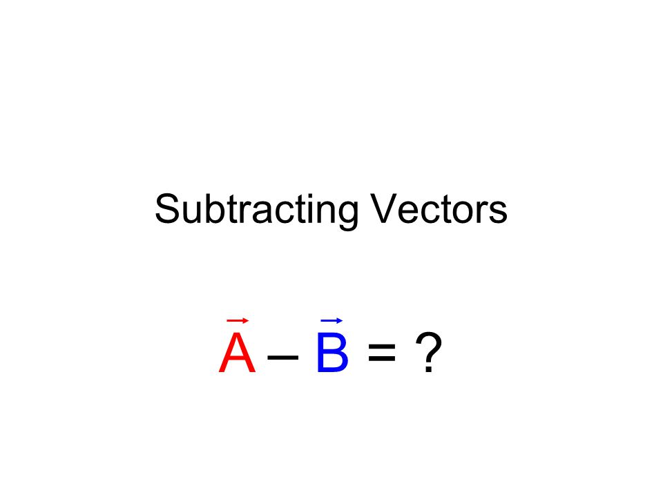 Subtracting Vectors A – B =