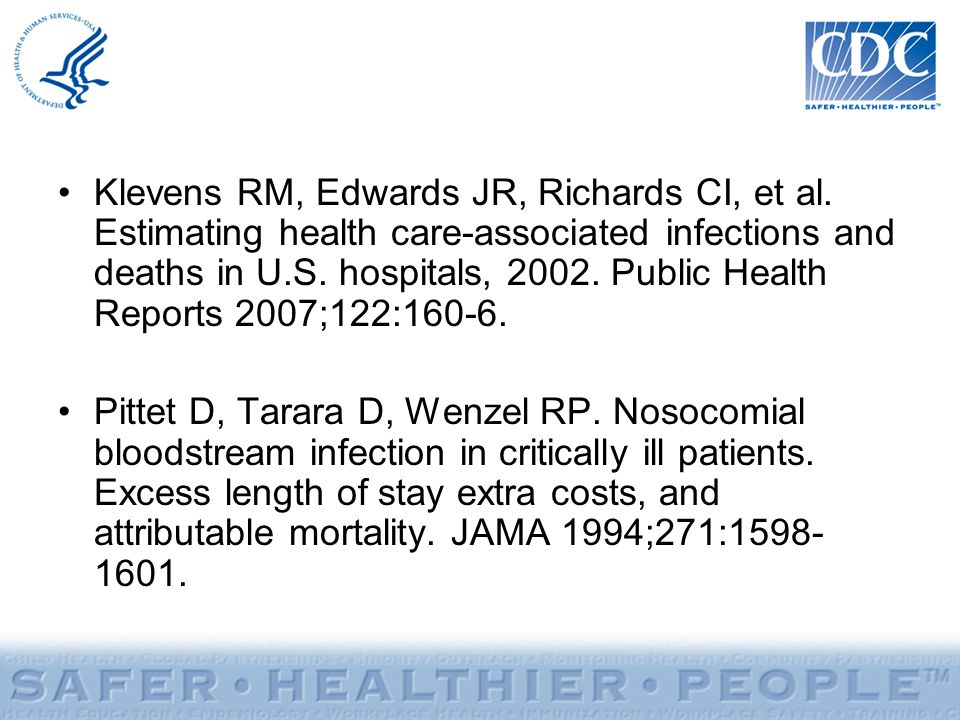 Klevens RM, Edwards JR, Richards CI, et al. Estimating health care-associated infections and deaths in U.S. hospitals, 2002. Public Health Reports 200