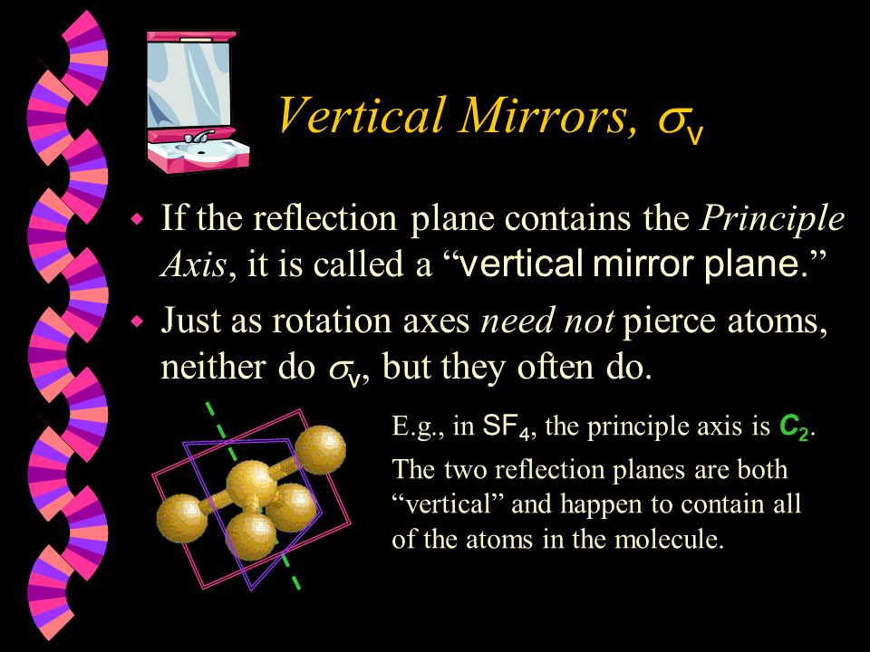 Mirror Planes,   Reflection in a mirror leaves some molecules looking identical to themselves.