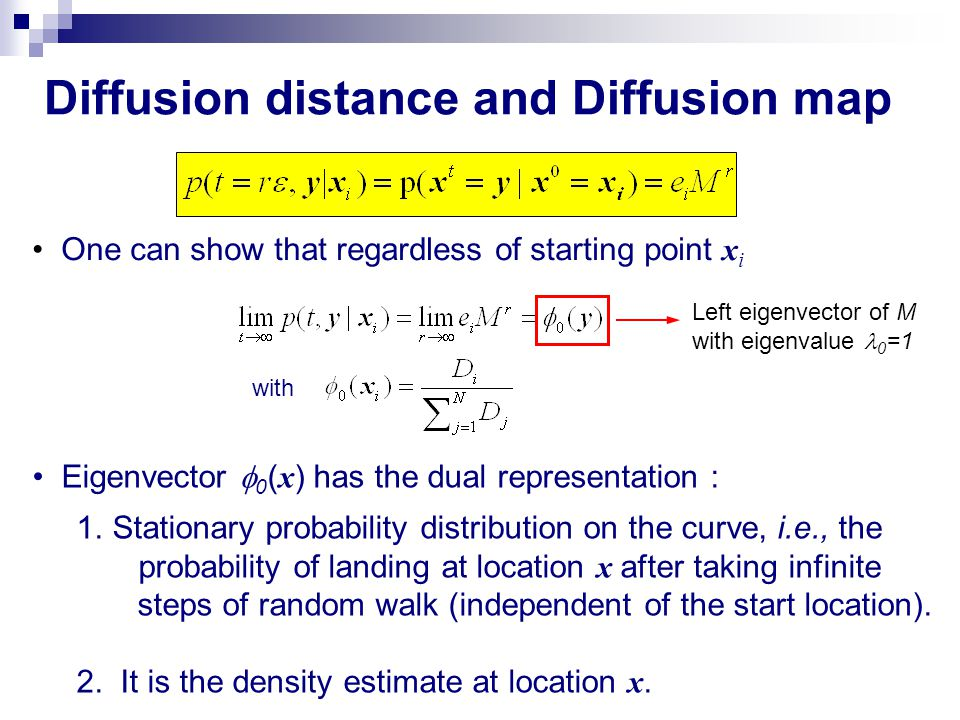 Diffusion distance and Diffusion map One can show that regardless of starting point x i Left eigenvector of M with eigenvalue 0 =1 with Eigenvector 