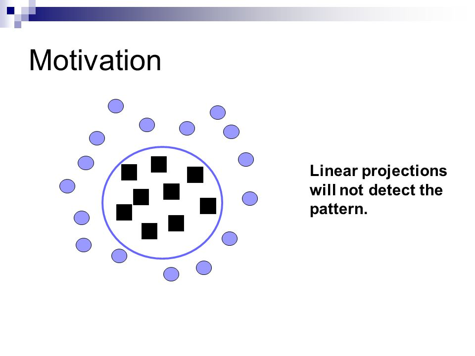 Motivation Linear projections will not detect the pattern.