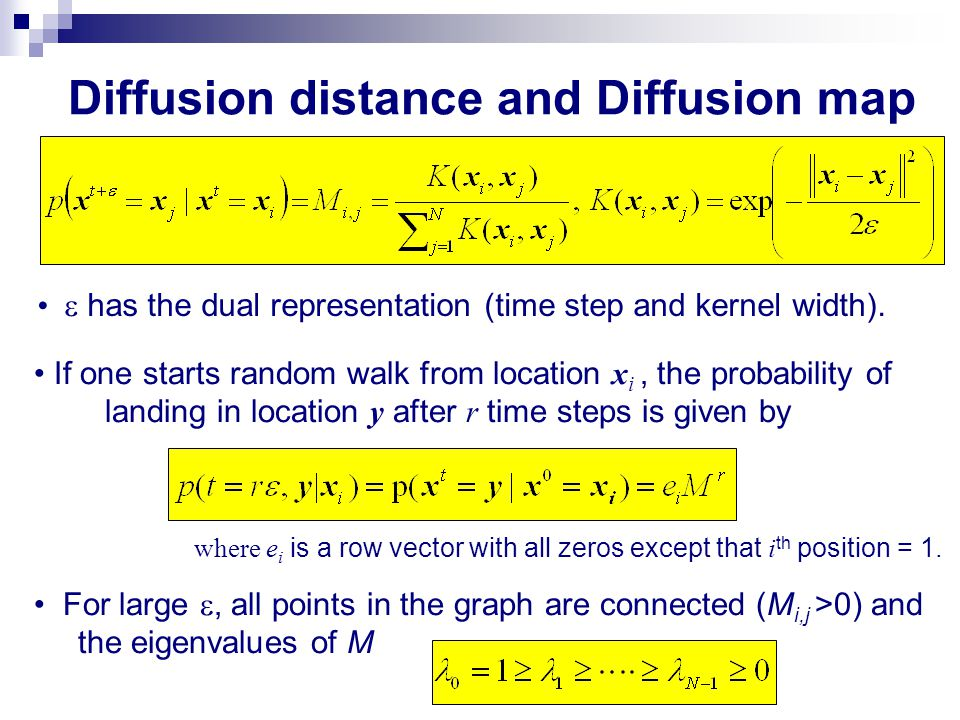 Diffusion distance and Diffusion map One can show that regardless of starting point x i Left eigenvector of M with eigenvalue 0 =1 with Eigenvector  0 ( x ) has the dual representation : 1.