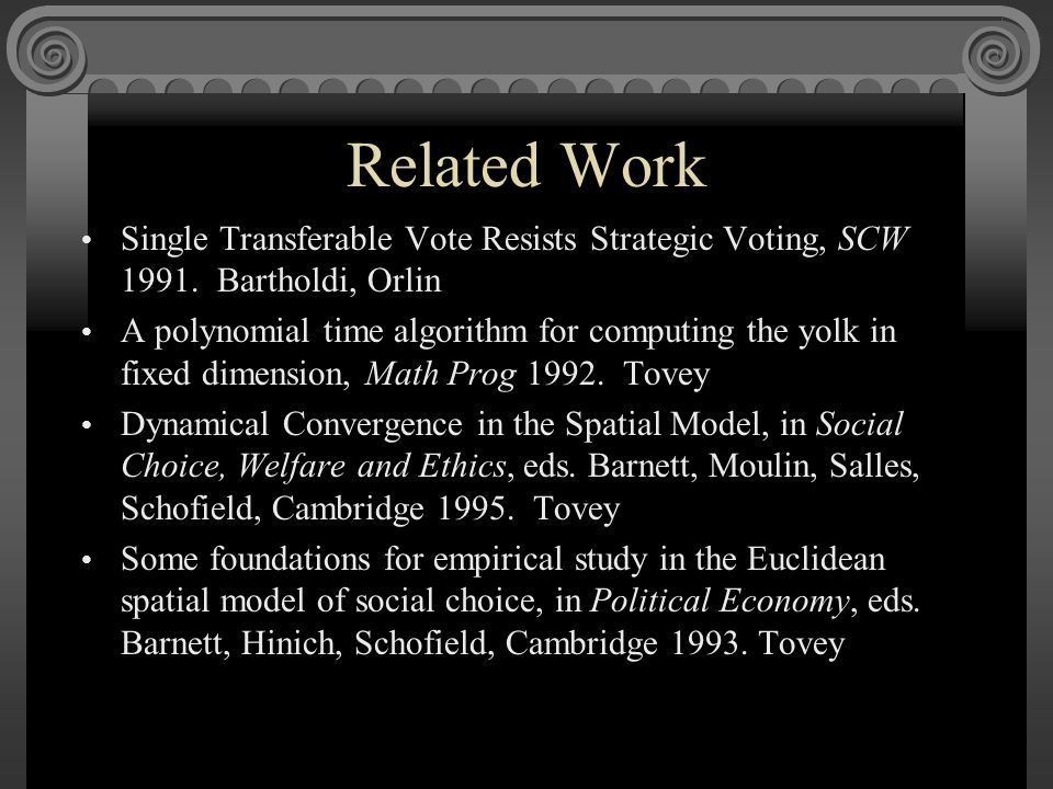 Related Work Single Transferable Vote Resists Strategic Voting, SCW 1991.