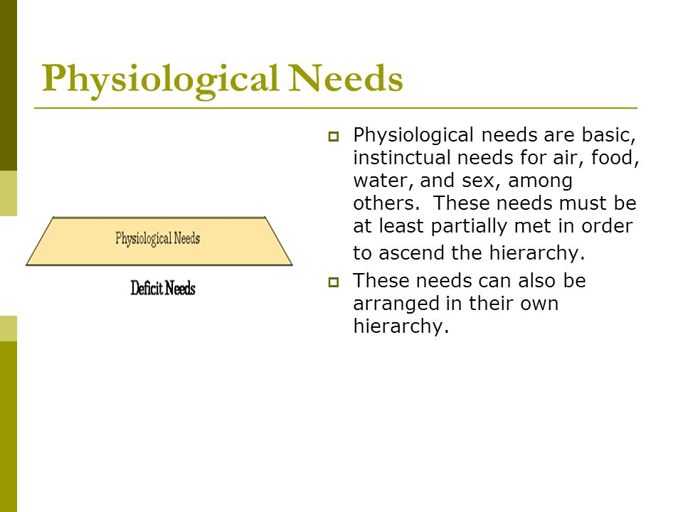 Physiological Needs  Physiological needs are basic, instinctual needs for air, food, water, and sex, among others. These needs must be at least parti