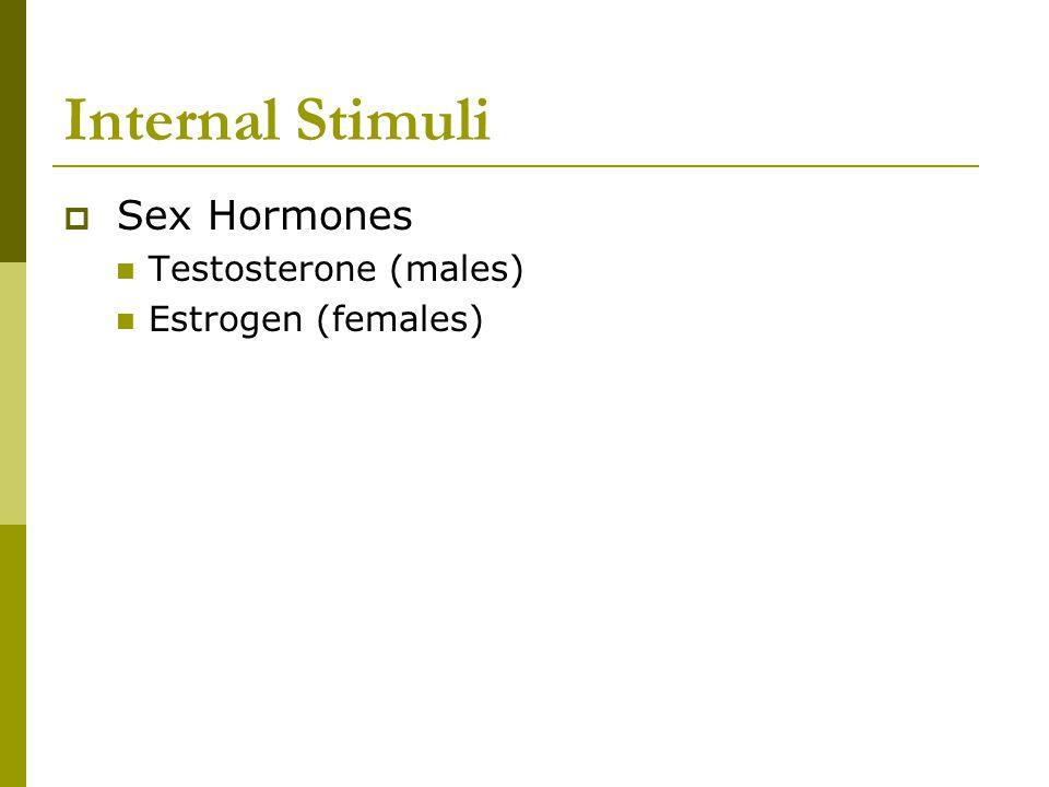 Internal Stimuli  Sex Hormones Testosterone (males) Estrogen (females)