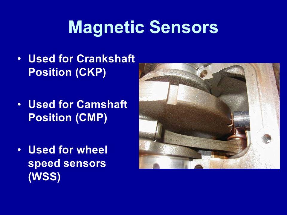 Magnetic Sensors Used for Crankshaft Position (CKP) Used for Camshaft Position (CMP) Used for wheel speed sensors (WSS)