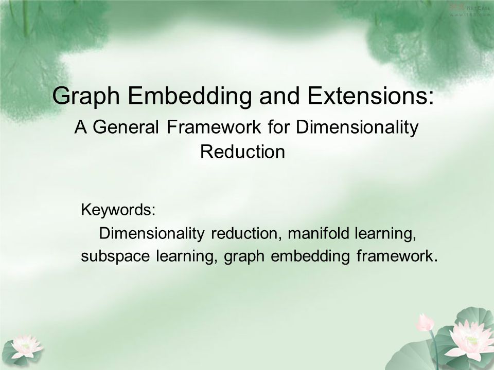 1.Introduction Techniques for dimensionality reduction Linear: PCA/LDA/LPP...