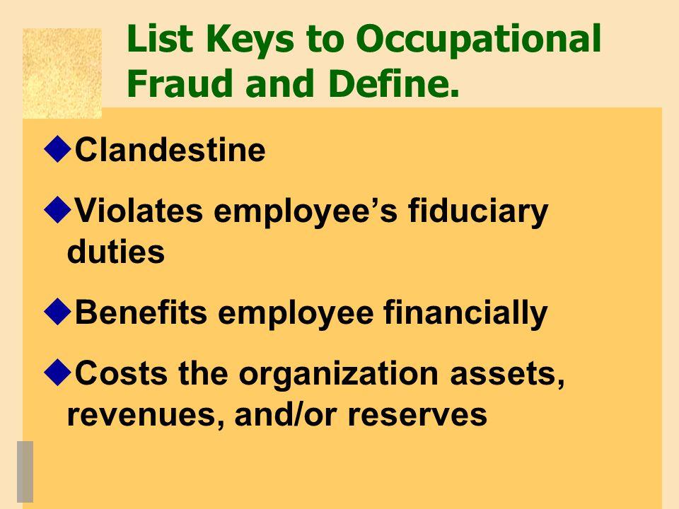 List Keys to Occupational Fraud and Define.