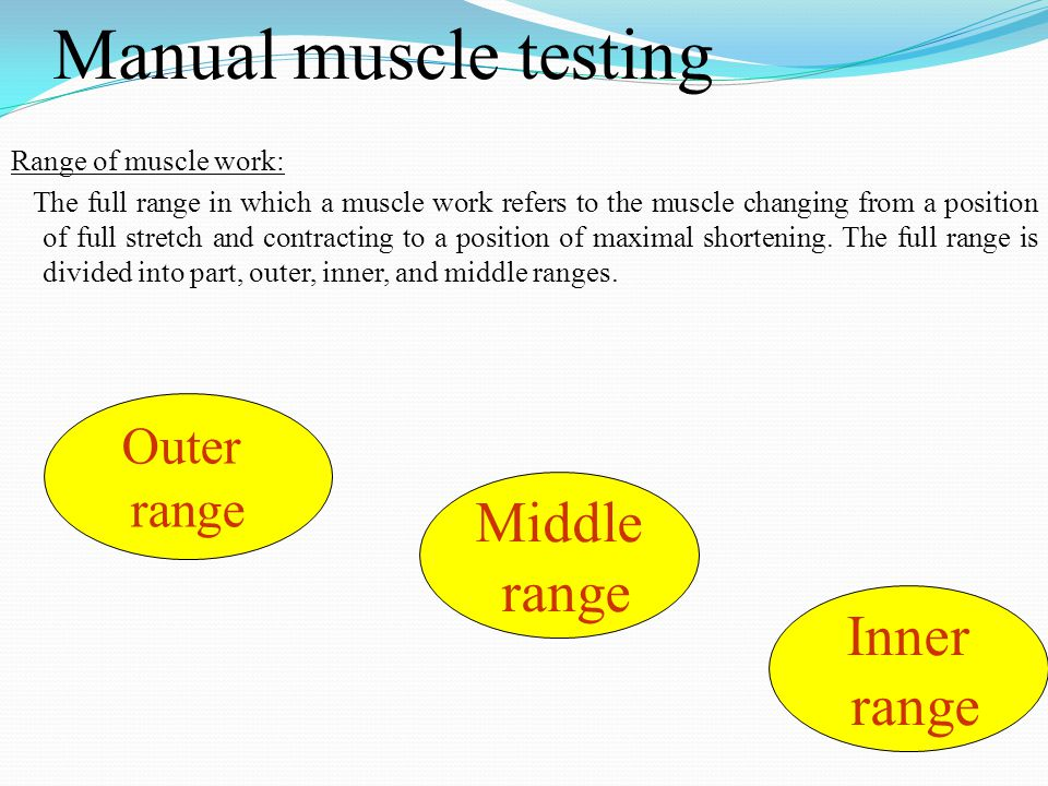 Manual muscle testing Range of muscle work: The full range in which a muscle work refers to the muscle changing from a position of full stretch and co