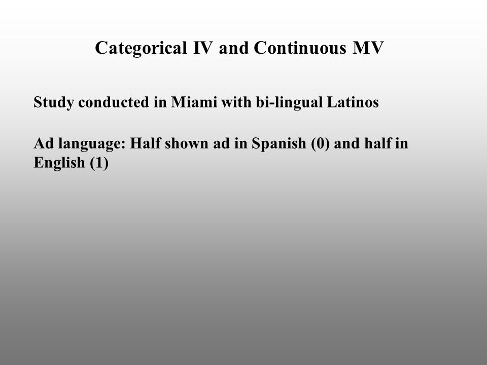 Categorical IV and Continuous MV Study conducted in Miami with bi-lingual Latinos Ad language: Half shown ad in Spanish (0) and half in English (1)