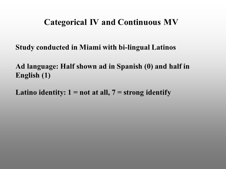 Categorical IV and Continuous MV Study conducted in Miami with bi-lingual Latinos Ad language: Half shown ad in Spanish (0) and half in English (1) Latino identity: 1 = not at all, 7 = strong identify