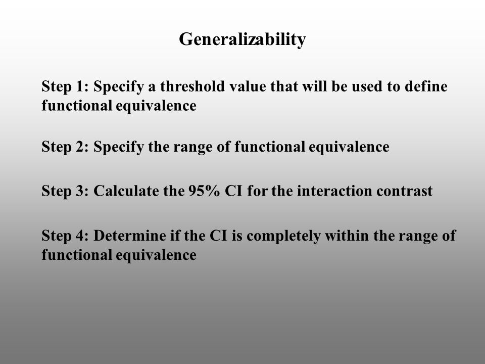 Step 1: Specify a threshold value that will be used to define functional equivalence Step 2: Specify the range of functional equivalence Generalizability Step 3: Calculate the 95% CI for the interaction contrast Step 4: Determine if the CI is completely within the range of functional equivalence