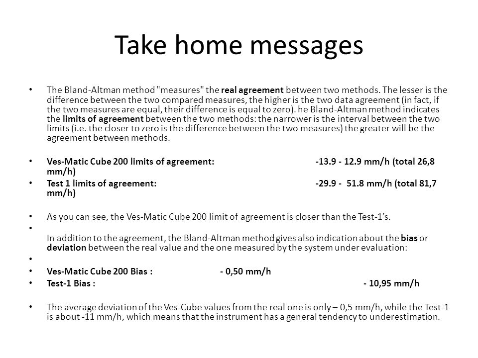 Take home messages The Bland-Altman method measures the real agreement between two methods.