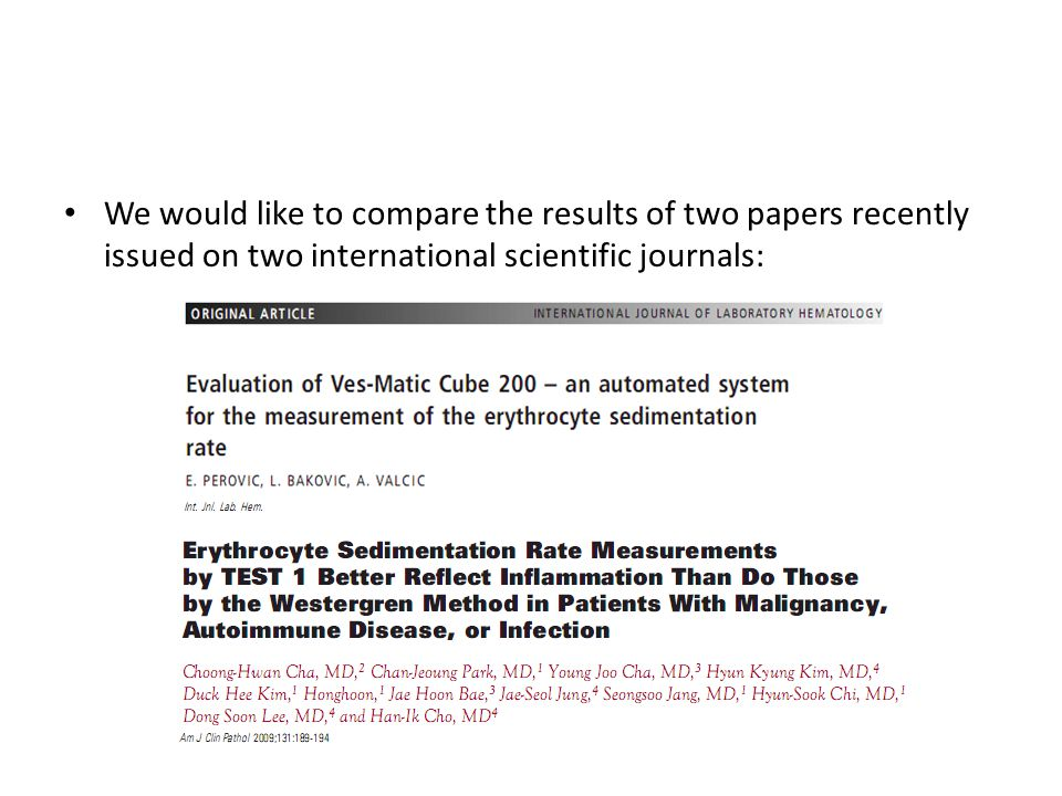 We would like to compare the results of two papers recently issued on two international scientific journals: