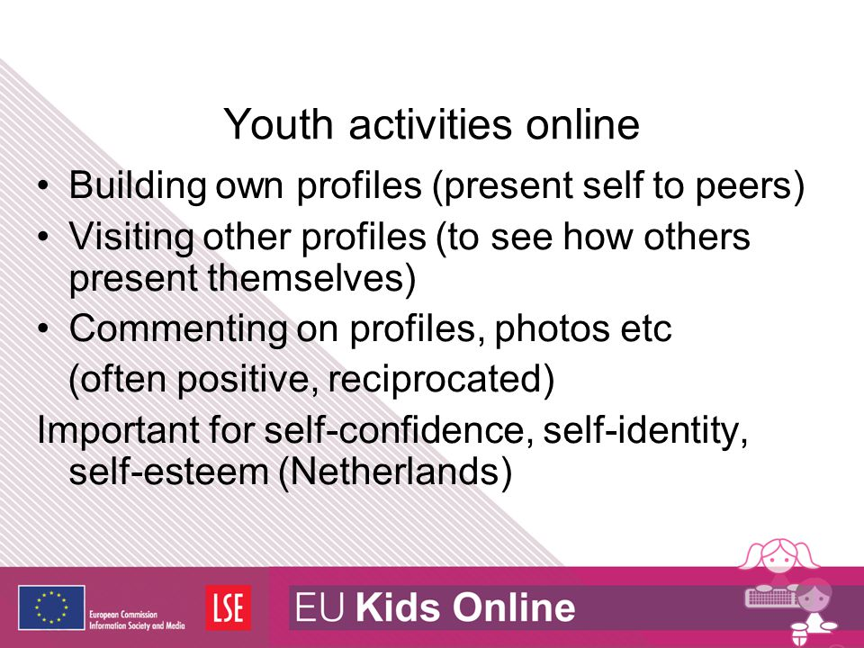 Privacy issues What adults think should be private is not necessarily what young people think should be private Various studies indicate information that young people give out: (e.g.