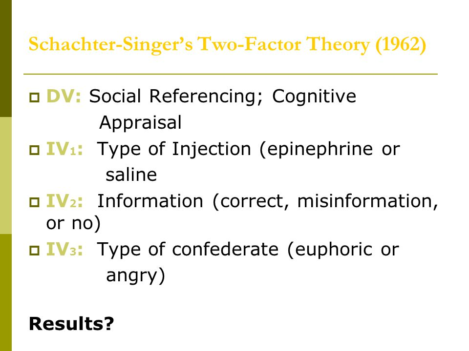 Schachter-Singer's Two-Factor Theory (1962)  DV: Social Referencing; Cognitive Appraisal  IV 1 : Type of Injection (epinephrine or saline  IV 2 : I