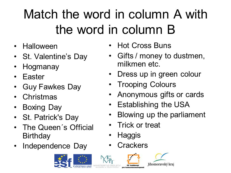 Match the word in column A with the word in column B Halloween St. Valentine's Day Hogmanay Easter Guy Fawkes Day Christmas Boxing Day St. Patrick's D