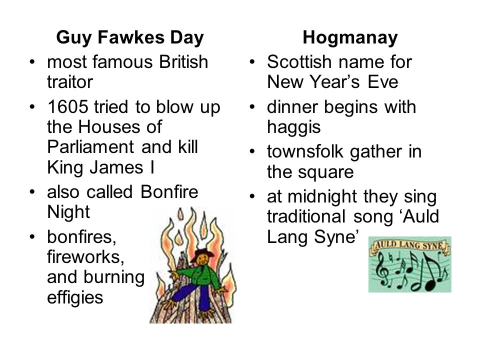 Guy Fawkes Day most famous British traitor 1605 tried to blow up the Houses of Parliament and kill King James I also called Bonfire Night bonfires, fi