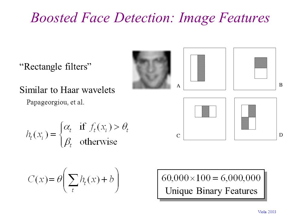 "Viola 2003 Boosted Face Detection: Image Features ""Rectangle filters"" Similar to Haar wavelets Papageorgiou, et al. Unique Binary Features"