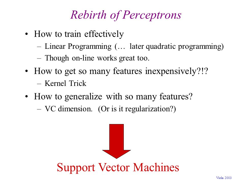 Viola 2003 Rebirth of Perceptrons How to train effectively –Linear Programming (… later quadratic programming) –Though on-line works great too. How to