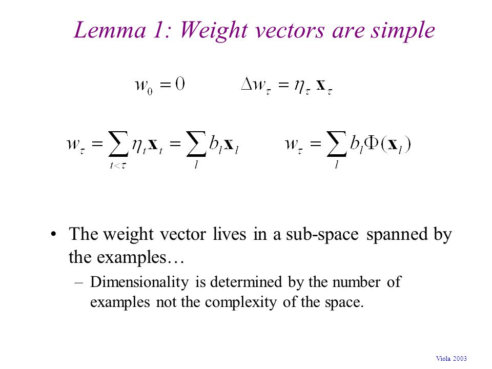 Viola 2003 Lemma 1: Weight vectors are simple The weight vector lives in a sub-space spanned by the examples… –Dimensionality is determined by the num
