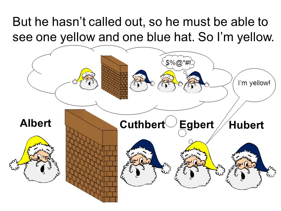 But he hasn't called out, so he must be able to see one yellow and one blue hat. So I'm yellow. Albert Hubert EgbertCuthbert $%@*#! I'm yellow!