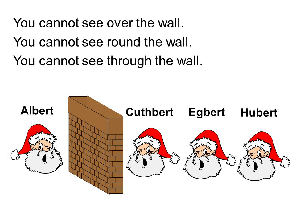 You cannot see over the wall.You cannot see round the wall.