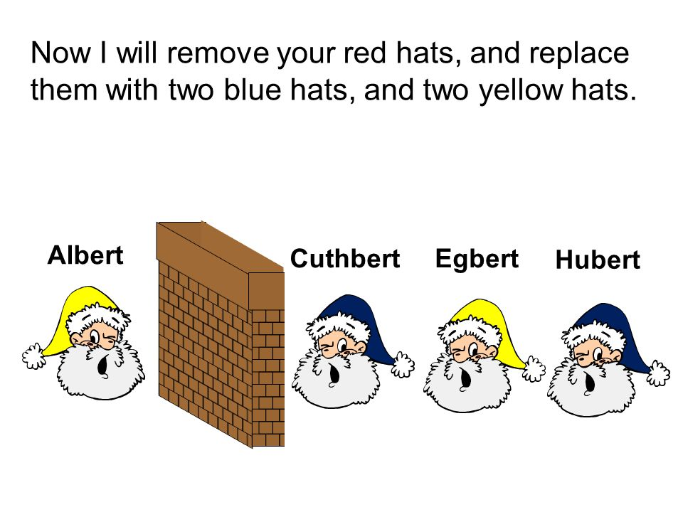 Now I will remove your red hats, and replace them with two blue hats, and two yellow hats. Albert Hubert EgbertCuthbert