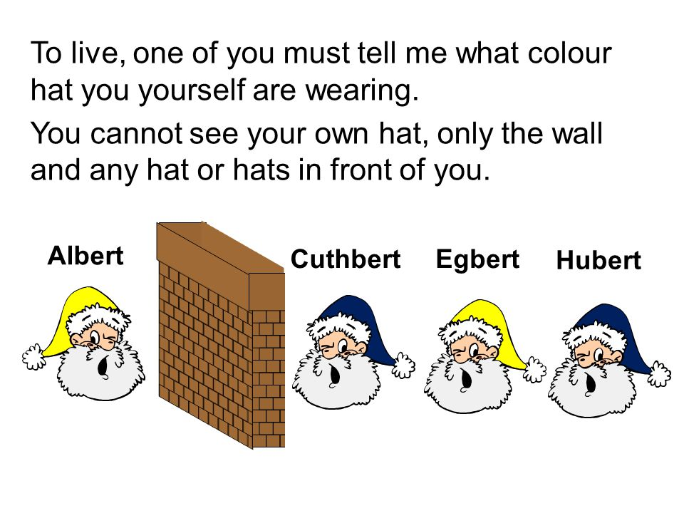 To live, one of you must tell me what colour hat you yourself are wearing. You cannot see your own hat, only the wall and any hat or hats in front of