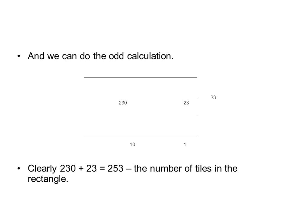 And we can do the odd calculation. Clearly 230 + 23 = 253 – the number of tiles in the rectangle.