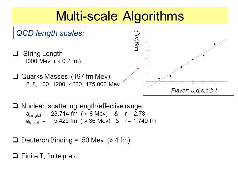 Multi-scale Algorithms  String Length 1000 Mev ( » 0.2 fm)  Quarks Masses: (197 fm Mev) 2, 8, 100, 1200, 4200, 175,000 Mev  Nuclear: scattering length/effective range a singlet = - 23.714 fm ( » 8 Mev) & r = 2.73 a triplet = 5.425 fm ( » 36 Mev) & r = 1.749 fm  Deuteron Binding = 50 Mev.