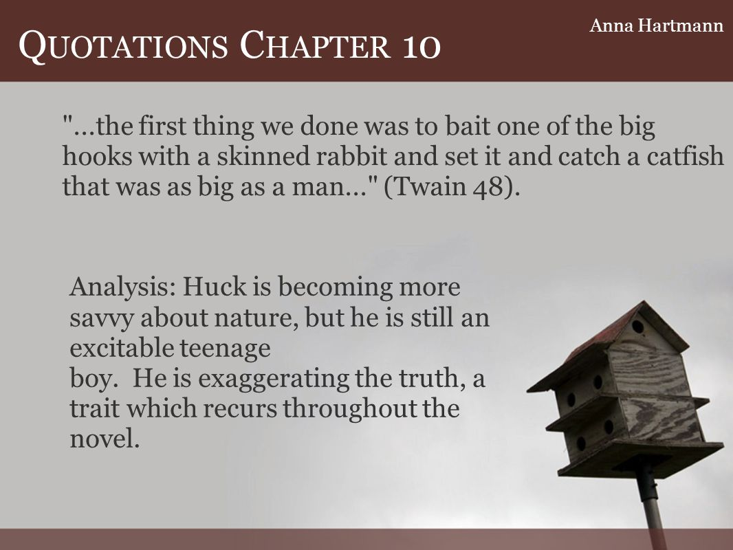 Q UOTATIONS C HAPTER 10 Analysis: Huck is becoming more savvy about nature, but he is still an excitable teenage boy.
