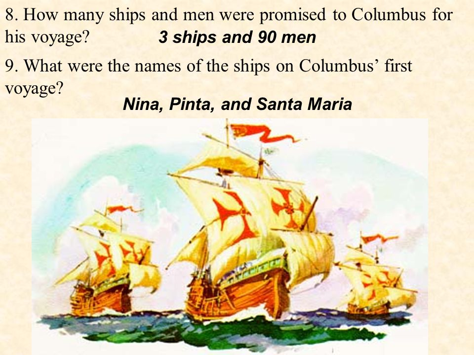 8. How many ships and men were promised to Columbus for his voyage.